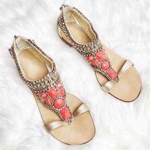 ** SALE ** Giuseppe Zanotti Stone Gem Flat Sandals